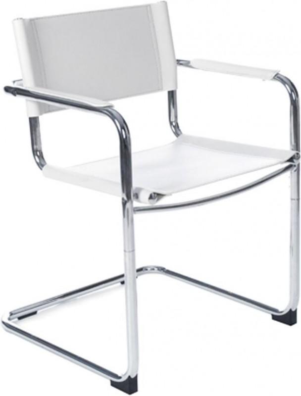 Bureaustoel Wit Leer Metalen Voet.Buisframe Slede Stoel Comfortabele Vergader En Eetkamerstoel