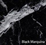 Ovale Saarinen Tulip tafel zwart Marquinia marmer_