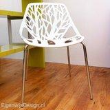 Tulip set Tafel 90cm wit glazen blad met 2 Forest stoelen_