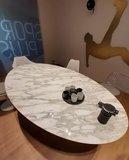 Saarinen Tulip tafel 244x137 Statuario marmer_