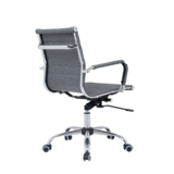 Bureau stoel Retro grijs gestoffeerd laag_