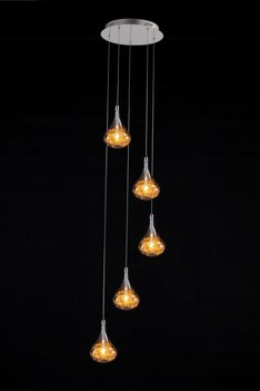 Drop cluster bulb 5 gold rond hanglamp
