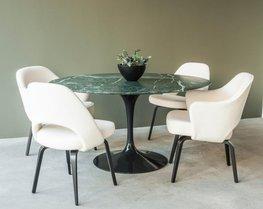 Tulip tafel 127 cm  groen (Verde Guatemala) marmeren blad