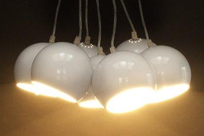Design hanglamp 7 halve bollen wit
