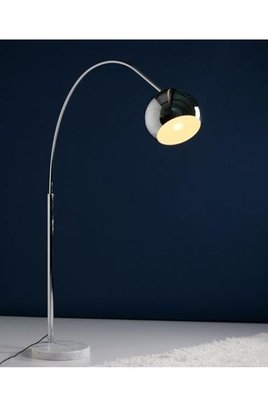 Design vloerlamp halve bol, Chroom