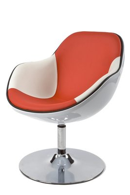 Design fauteuil, Wit/Rood