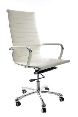 Bureau stoel Retro wit echt leer hoog