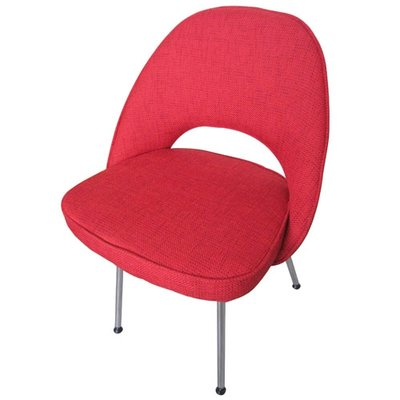Saarinen Executive Armless Chair Tubular Legs Red