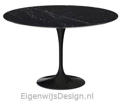 Saarinen Tulip tafel 137cm Zwart Marquinia marmer