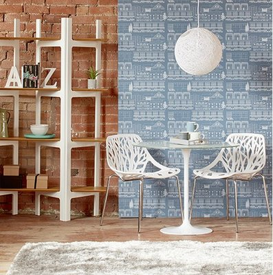 Tulip set Tafel 90cm wit glazen blad met 2 Forest stoelen