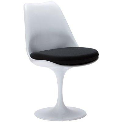 Tulip chair, volledig draaibaar met zwart kussen