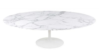 Ovale Saarinen Tulip tafel,  Arabescato marmeren blad