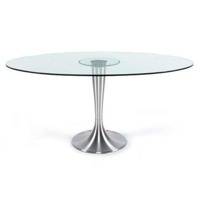 Ovale tafel met glazen blad 160 x 108cm