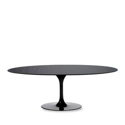 Ovale Saarinen Tulip tafel zwart blad