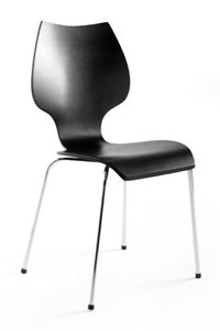 Design stoel stapelbaar, Zwart