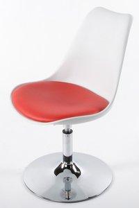 Retro design stoel draaibaar, Wit/Rood