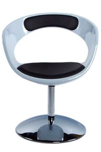 Ronde design fauteuil, Wit/Zwart