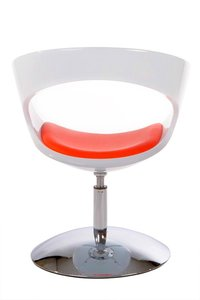 Ronde design fauteuil, Wit/Rood