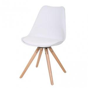 6 Witte Design Stoelen.Trendy Eetkamer Stoel Met Vast Zitkussen En Houten Poten