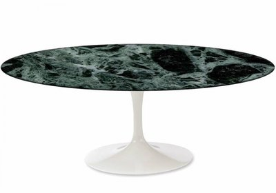 Ovale Saarinen Tulip tafel groen marmer Guatemala Verde