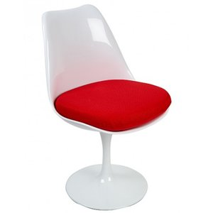 Tulip chair, volledig draaibaar met rood kussen