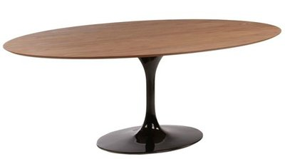 Ovale Tulip Saarinen tafel noten fineer blad 199x120 zwarte voet