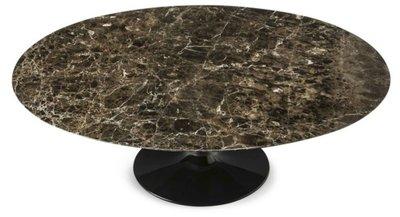 Ovale Saarinen Tulip tafel 199x121cm. Bruin Marrone marmer