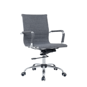 Kantoorstoel grijs gestoffeerd lage rugleuning